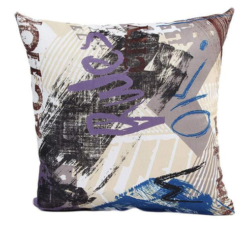 "18"" x 18"" Graffiti Pillow Cover - Purple Combination (Exclusively Online)"