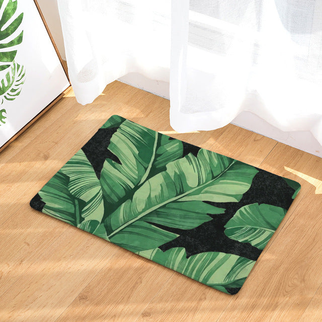"20"" x 31"" Naturale Floor Mat - Banana Leaves Black Combination"