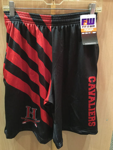 Fit 2 Win Shorts - Black with Red Stripes