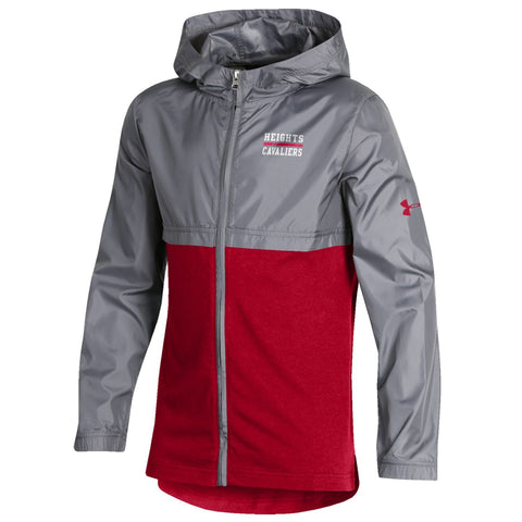 Under Armour Youth Full Zip Woven Layer Jacket - Red/Gray