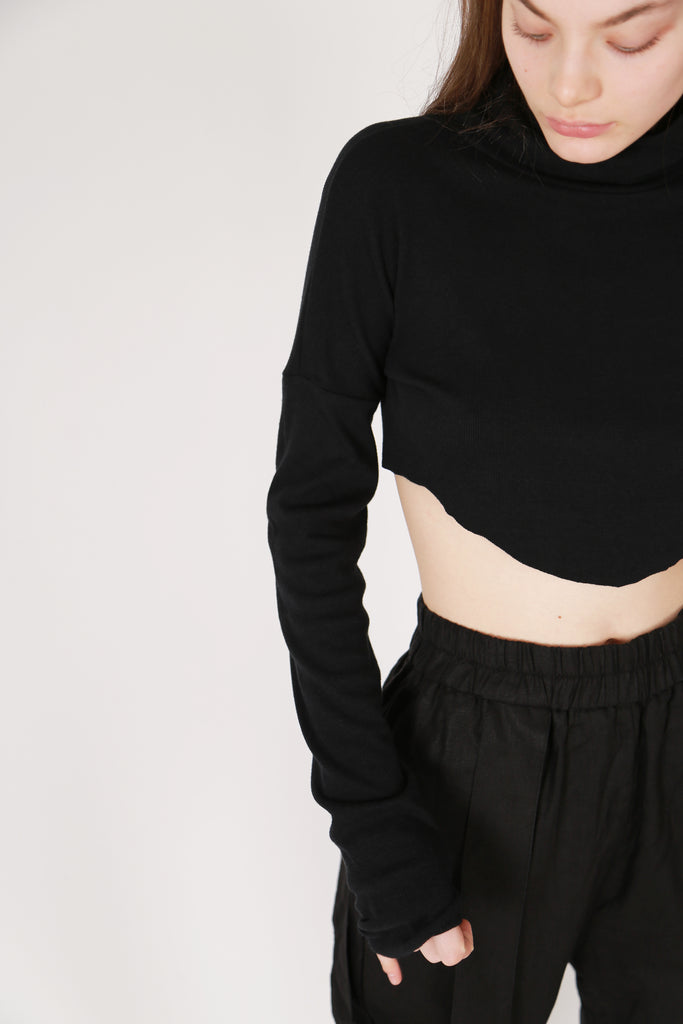 Cropped Rib Turtleneck