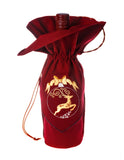 Font view of Zelenco's Christmas Reindeer embroidered wine gift bag takes this Christmas gift soaring to a loved one or friend.