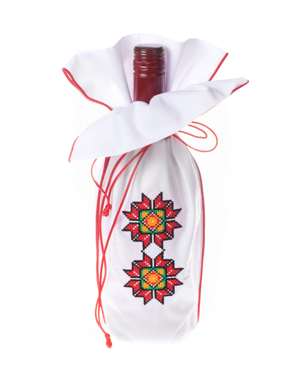 A uniquely embroidered flower design highlights the front of this Christmas wine gift bag.   Place your favorite wine inside and present to a friend.