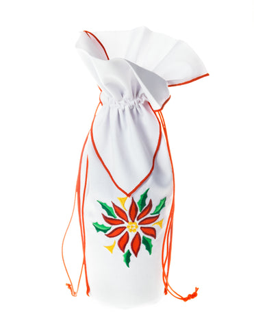 Front view of Zelenco's Poinsettia Christmas Wine Gift Bag.  A special Christmas gift for your lovely lady.
