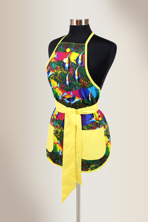 Multicolor apron with fish printed design