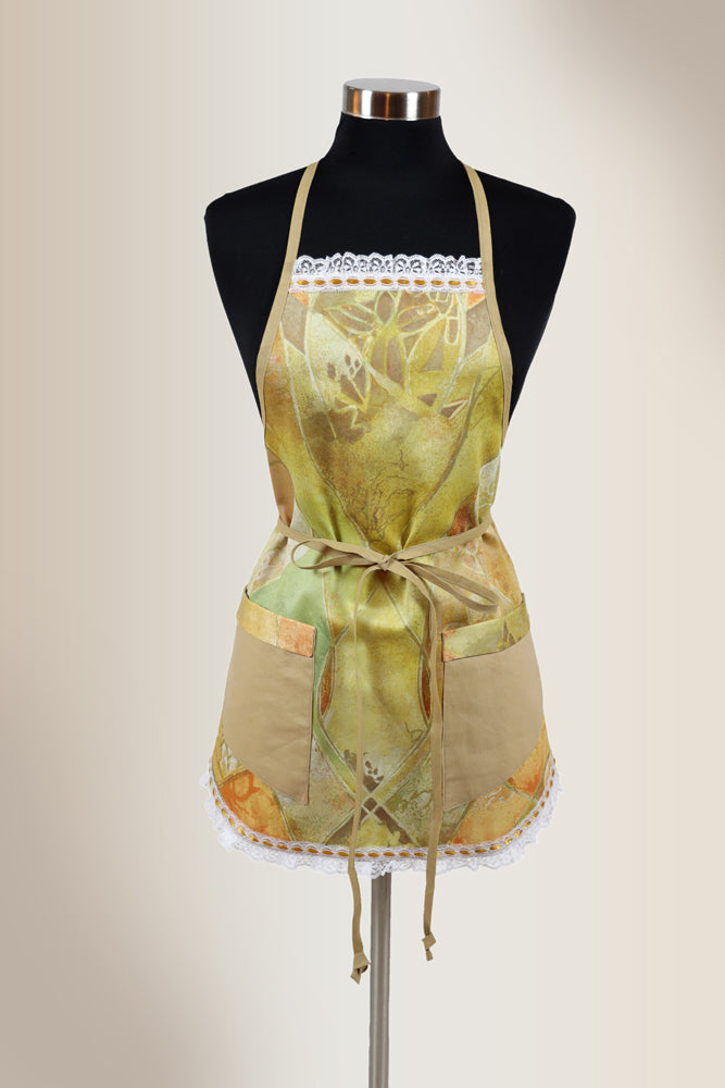 Biege apron with abstraction printed design