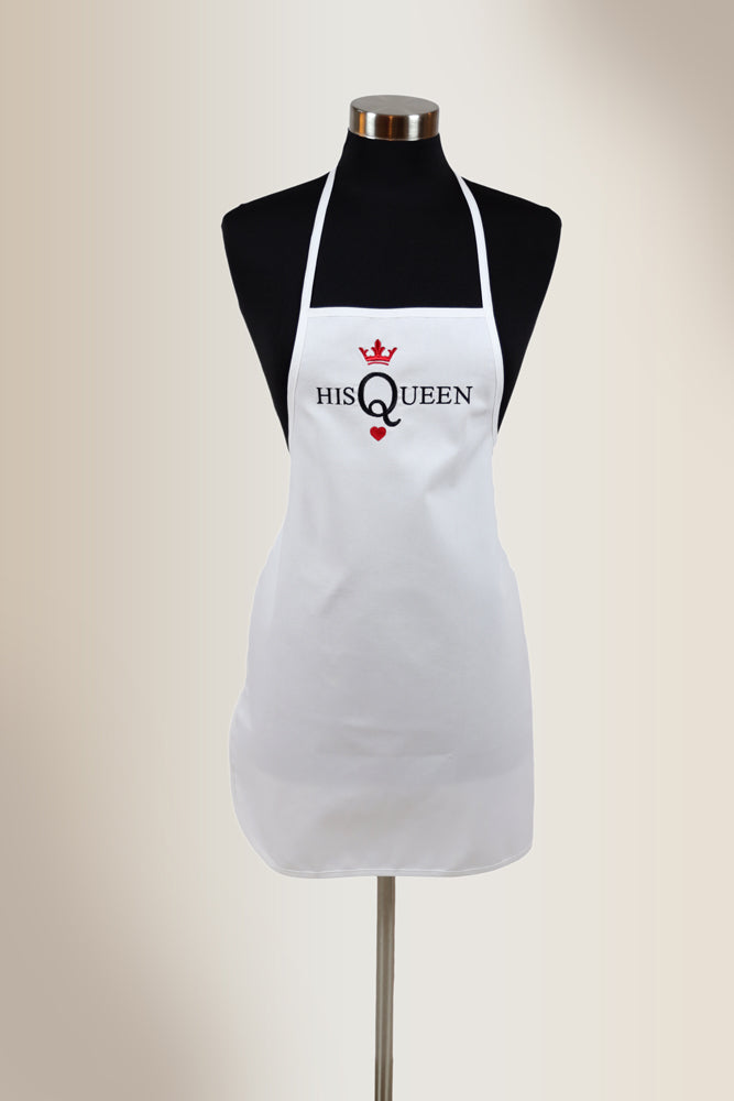 "White apron with embroidered design ""His Queen"""