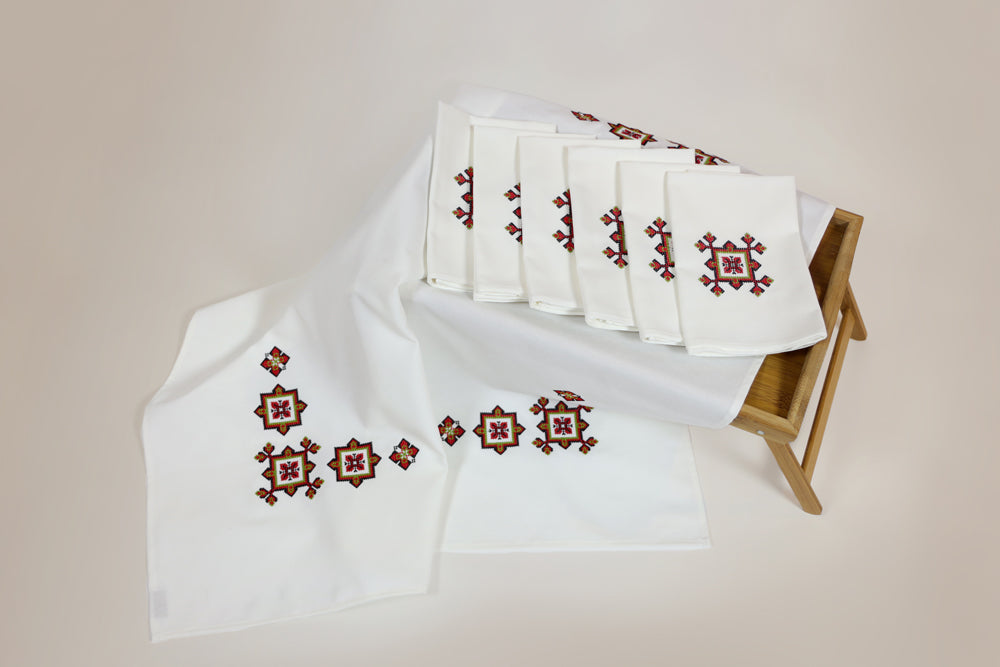 Embroidered red cross stitch design table topper and 6 napkins set