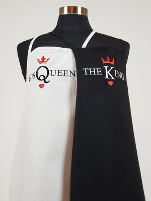 King and Queen embroidered aprons set