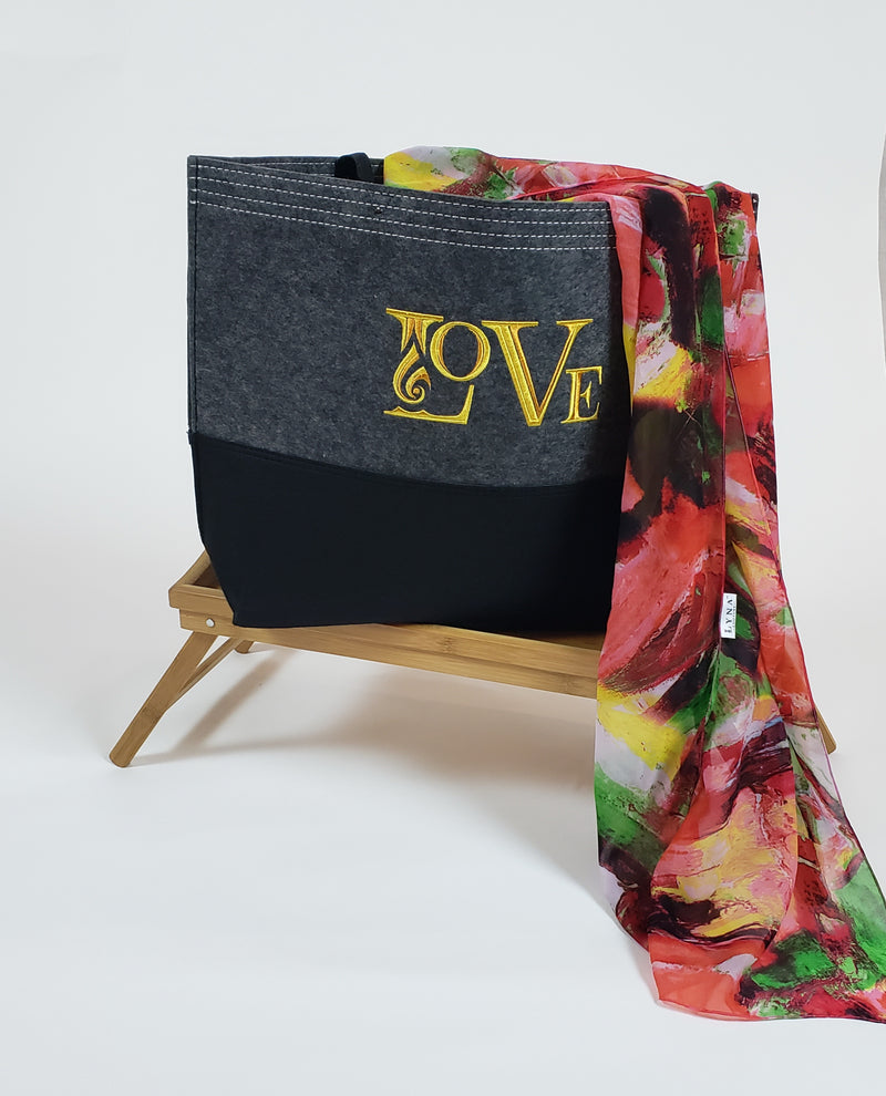 Big Felt Tote bag with embroidery LOVE