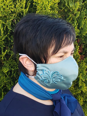 Cotton Double Side Light Ocean Green  Embroidered Face Mask
