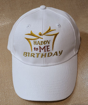 White 100% cotton Baseball Cap with happy Birtday