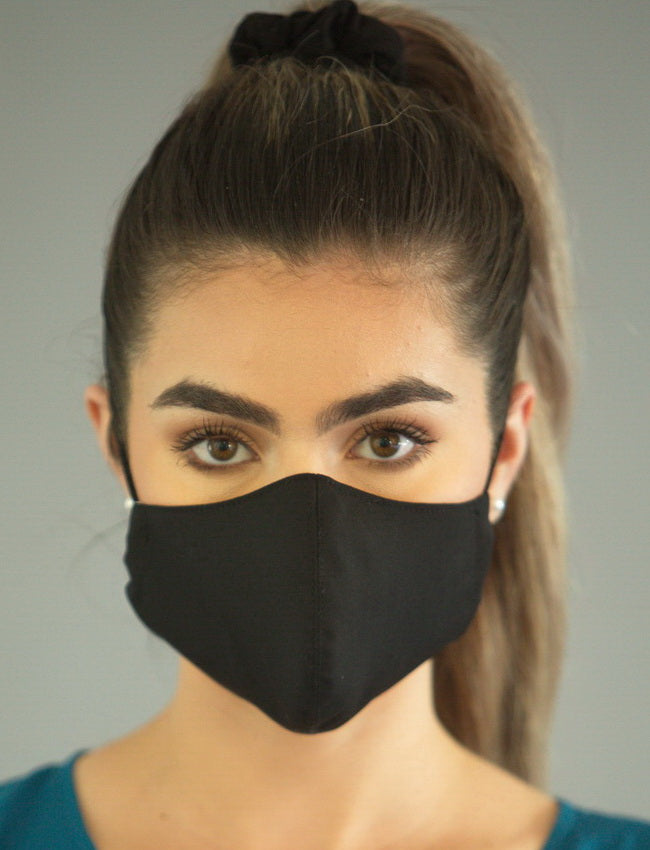 FASHIONABLE BLACK COTTON/POLY FACE COVERING with Bio Kil
