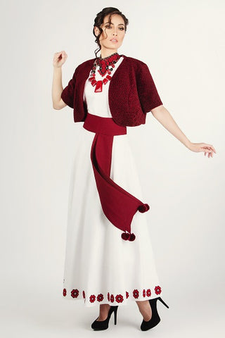 White Linen Dress With Burgundy Short  Lamb Jacket and Belt