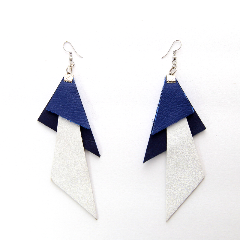 White & Blue Leather Polygon Earrings