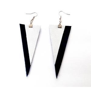 Cubical Leather Navy Earrings