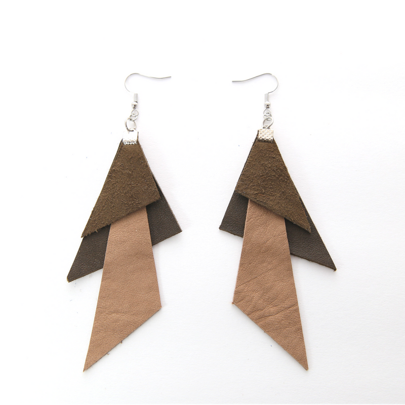 Beige & Olive Polygon Earrings