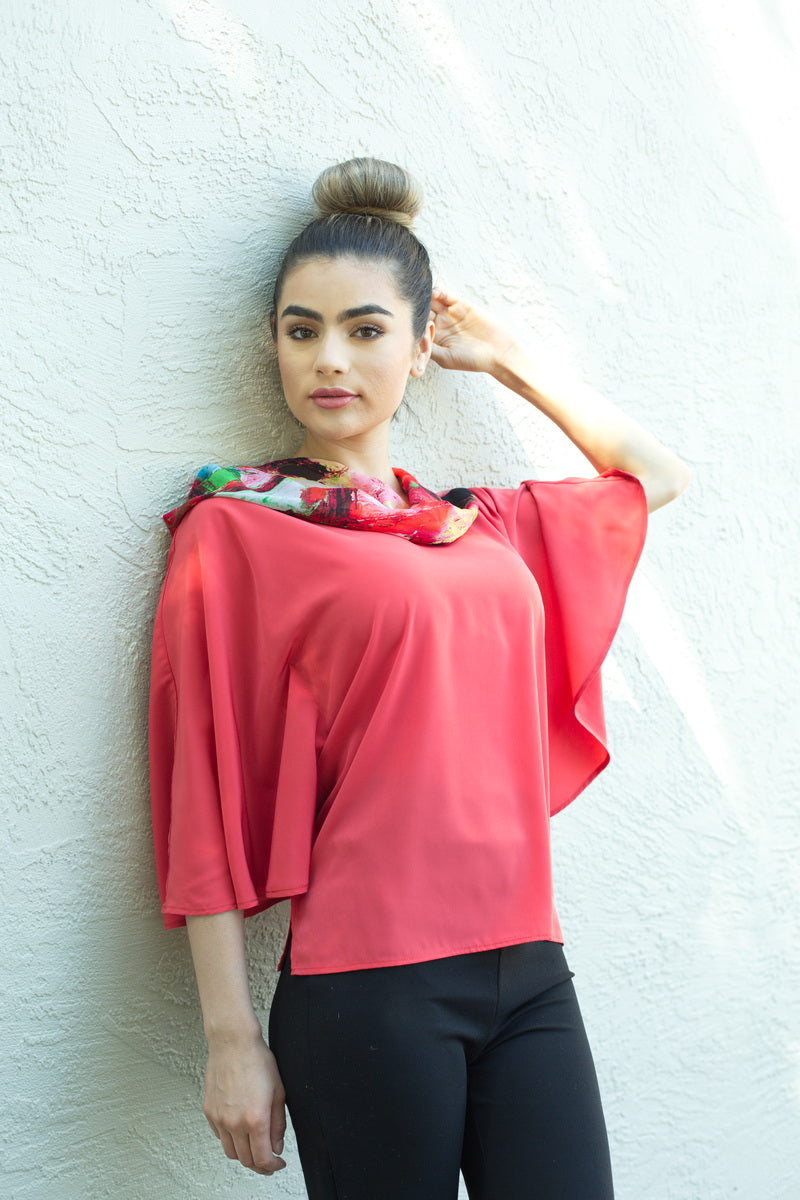CORAL BUTTERFLY BLOUSE