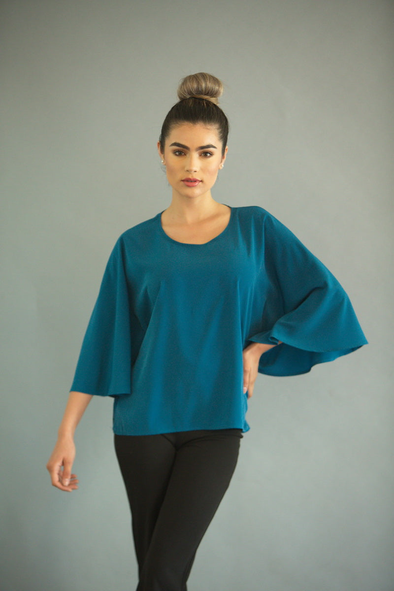 TURQUOISE BUTTERFLY BLOUSE