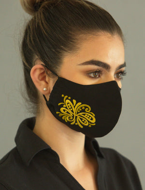 FASHIONABLE BLACK  FACE COVERING with BioKil and embroidered flowers