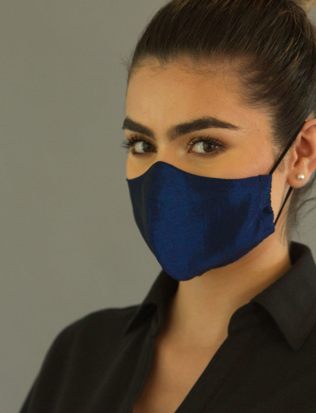 FASHIONABLE NAVY POLY FACE COVERING