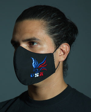 EMBROIDERED FASHIONABLE BLACK COTTON/POLY FACE COVERING with BioKil