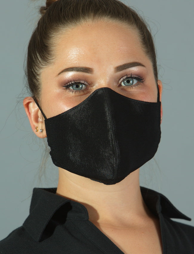 FASHIONABLE BLACK POLY FACE COVERING with BioKil