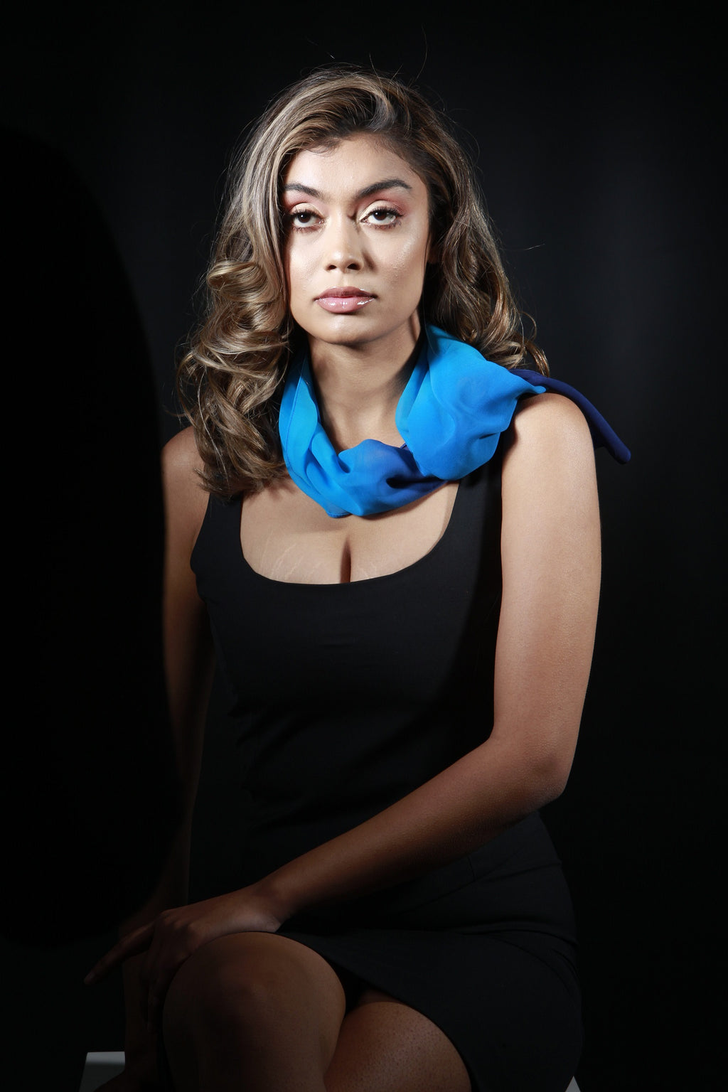 Medium Silk Chiffon Tricolor Blue Scarf