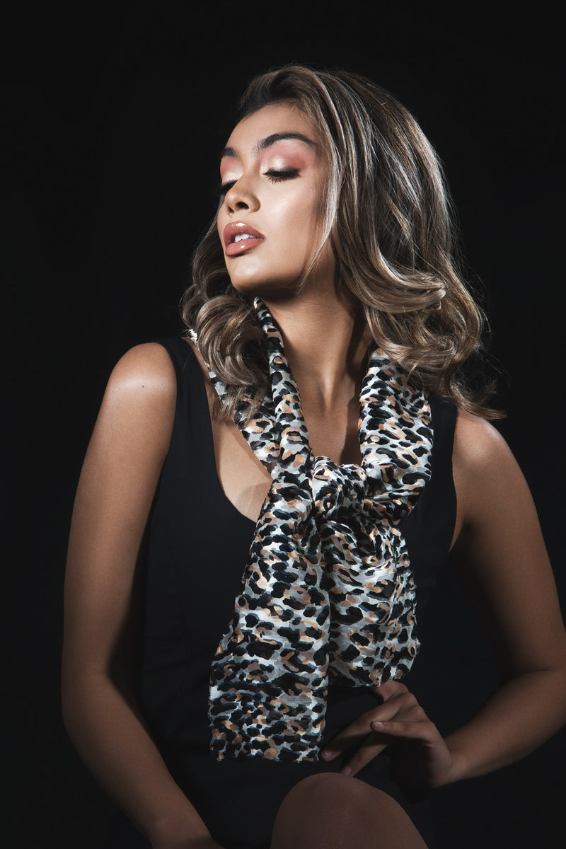 Small Animal Print Silk Scarf