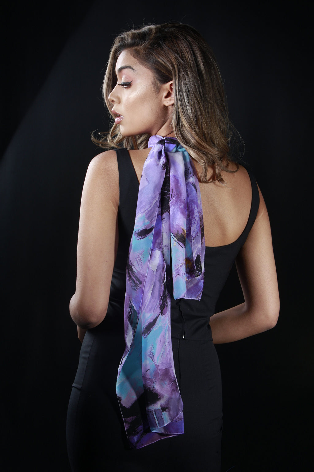 Italian Medium Purple Polyester Scarf