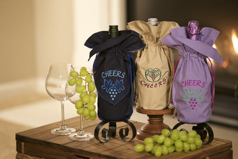 Zelenco. Embroidered wine gift bag set. Multi-Cheers.