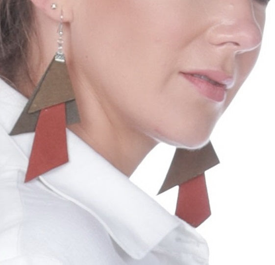 Orange & Olive Polygon Earrings