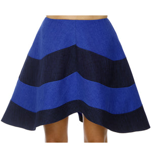 Terra Mid-length skirt with round striped light and navy blue circles.