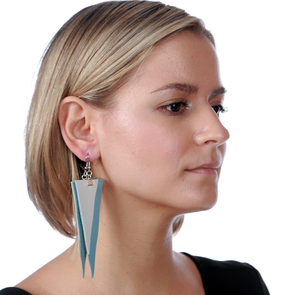 Cubical Light Blue Leather Earrings