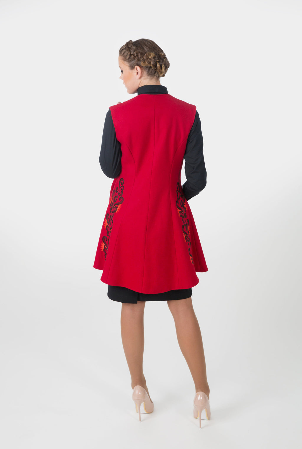 Modern women's wool west. Back shows our stylish embroidery.