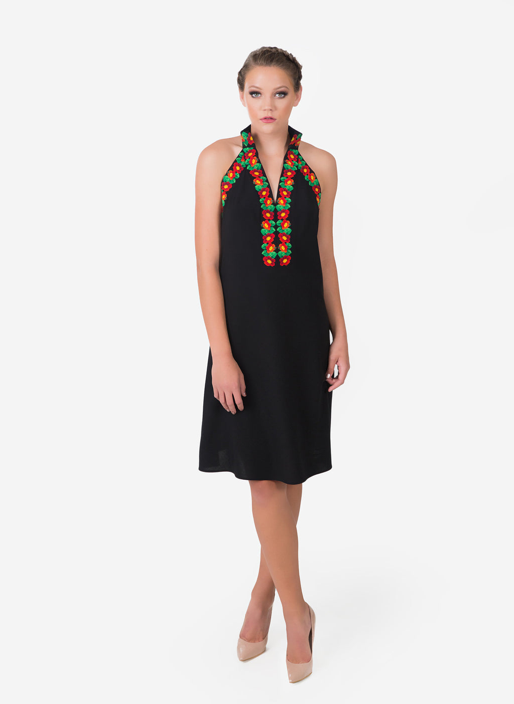 Front view of wool black cocktail dress.   Cool during summer parties yet warm for cooler occasions.