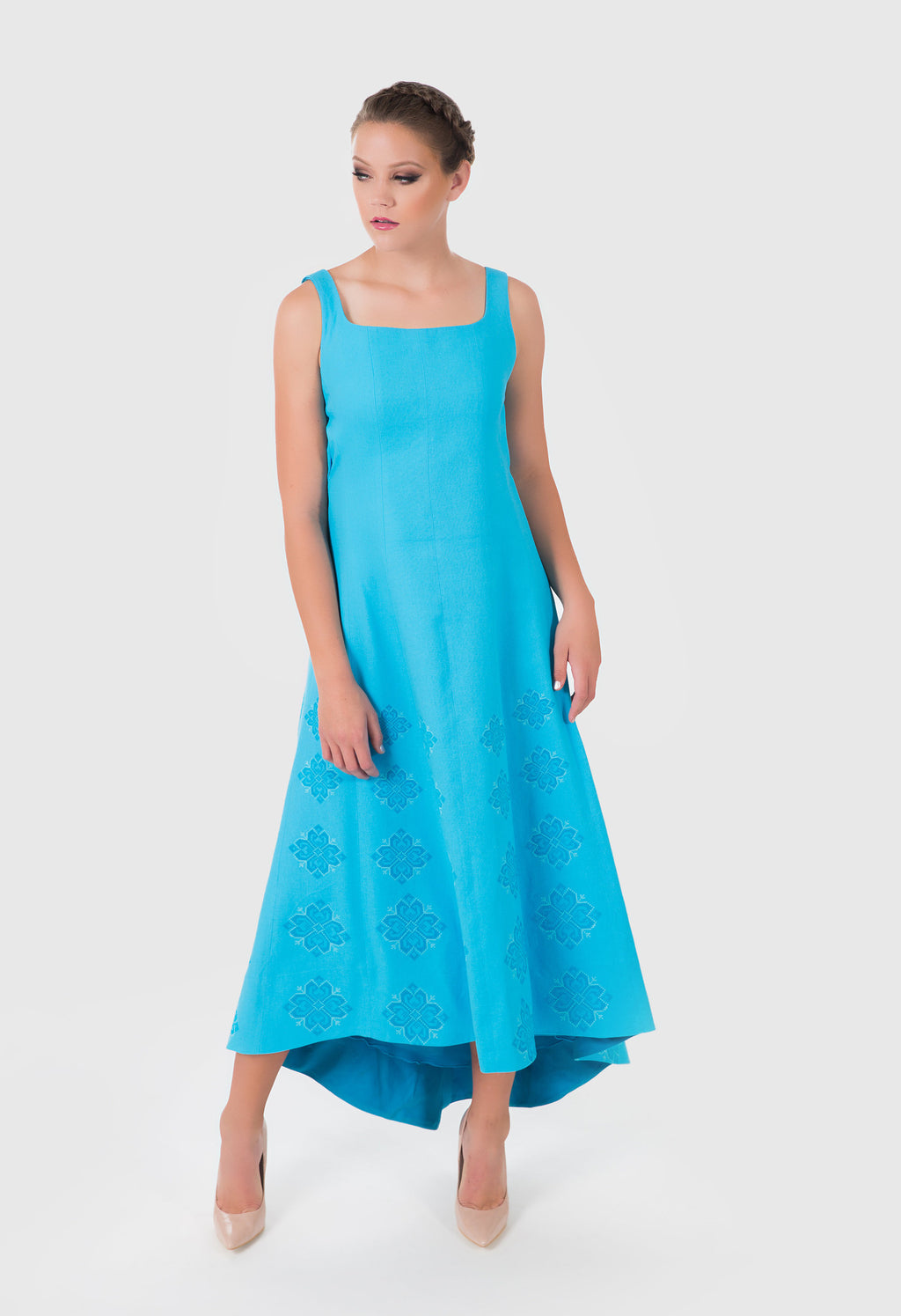 Zelenco's inspired light blue evening dress made from cotton and linen.  The frontal view shows the light embroidery.