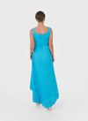 The cotton blue evening dress back view shows the open back and longer trail.