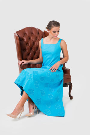 Whether casually sitting, everyone will notice you in Zelenco's exclusive blue evening dress.