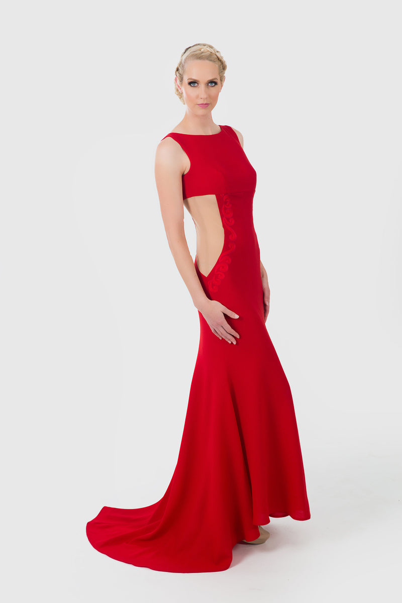 Elegant red evening dress with open neck and sides.