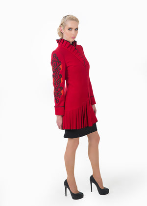 Women's wool high neck jacket highlighting the side view of the Zelenco's embroidery sleeves.