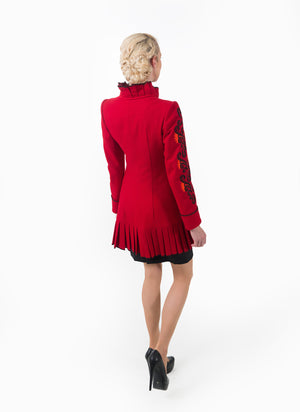 Back view highlight the high neck of the women's jacket.