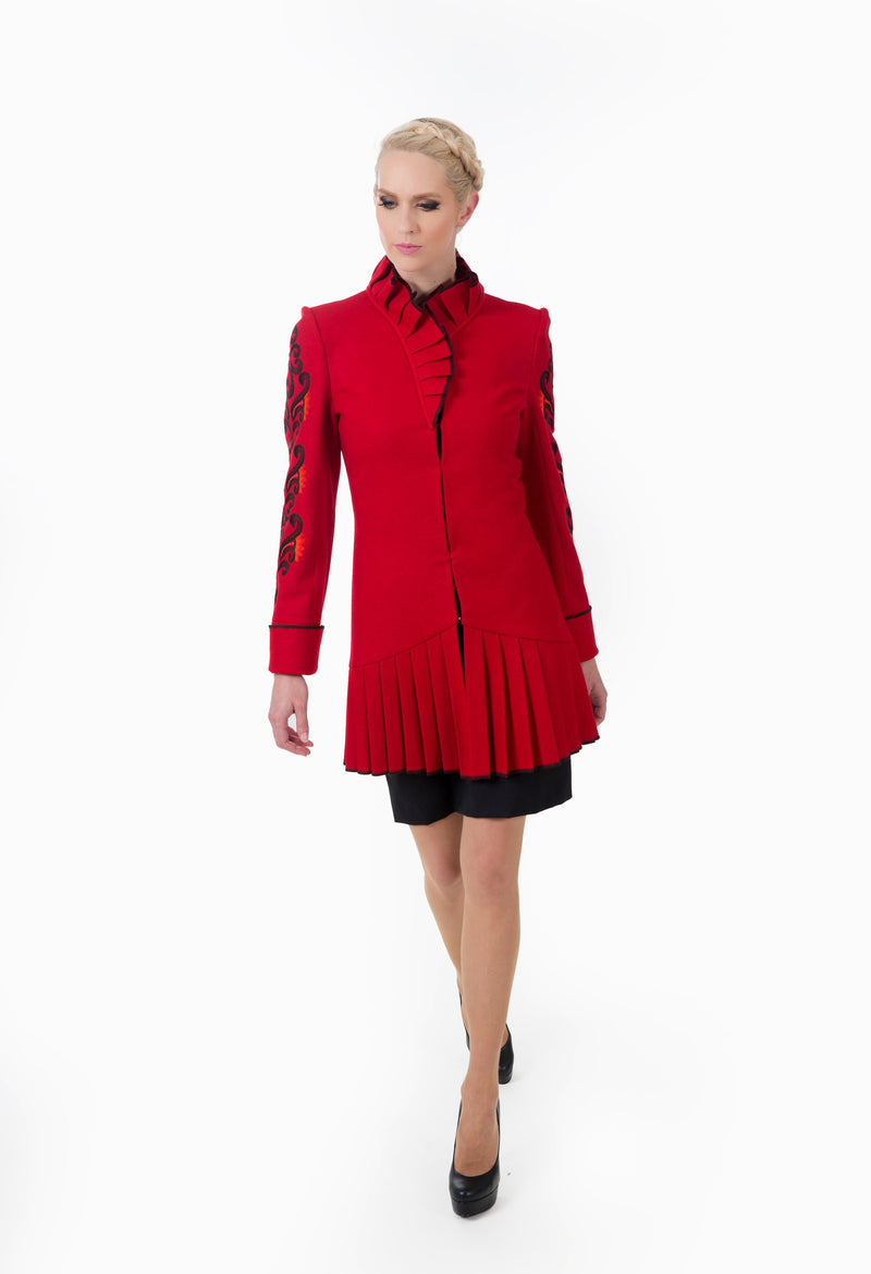 Women's wool high neck jacket showing the front closing design.