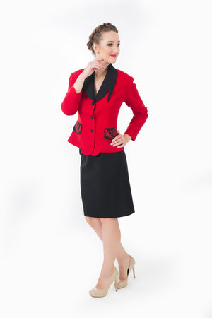 Women's red business suit.  Side view of how glamorous you would be at a business dinner.