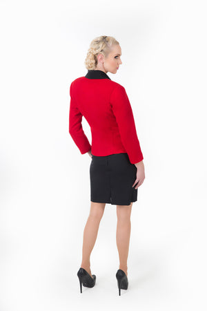 Women's red business suit. Back view shows the fine Italian wool.