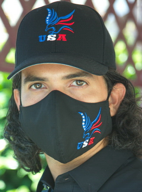 FASHIONABLE BLACK FACE COVERINGS WITH BLACK COTTON CAP, EAGLE EMBROIDERED DESIGN