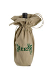 Zelenco's own Happy New Year's Eve beige wine bag showing green leaves.
