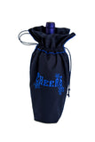 "Happy New Year's Eve navy wine bag embellished with bright blue ""CHEERS"" and leaves."