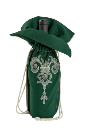 A beautiful green wine gift bag from Zelenco with an extraordinarywhite crown pendant embroidery design.