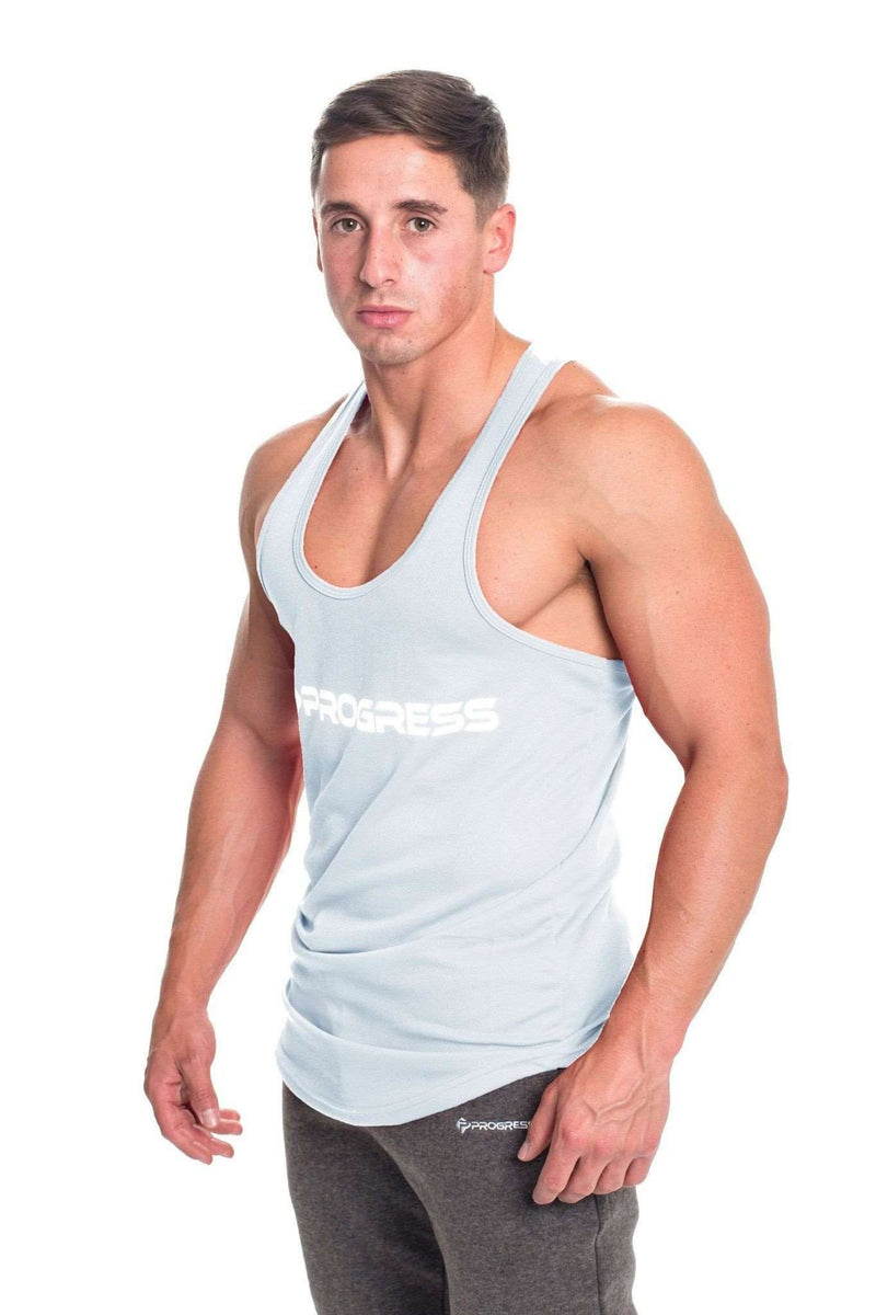 Stringer Vests - Progress Performance Stringer - Large Logo (Cool Grey)